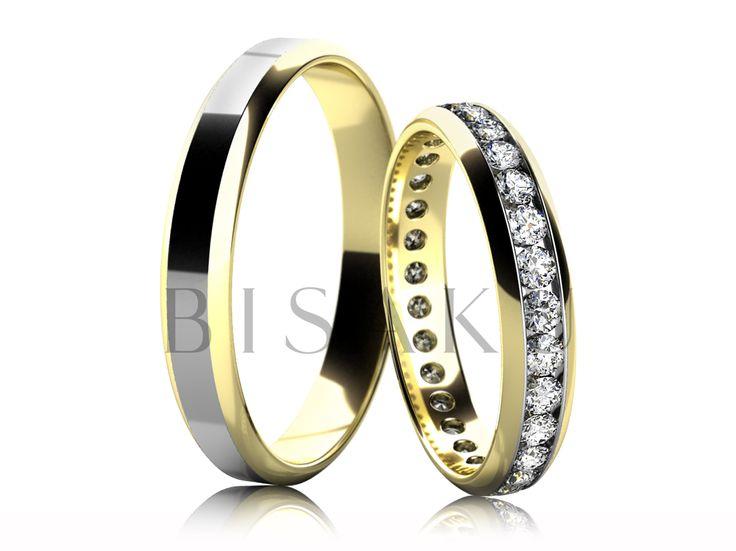 4639 Snubní prsteny v kombinaci bílého a žlutého zlata v lesklém provedení. Hrany obou prstenů jsou lehce zkosené. Vzhledem k jemnému a elegantnímu provedení dámského prstenu, lze tento model snadno kombinovat se zásnubním prstenem. Dámský prsten je po celém obvodě zdoben kameny. #bisaku #wedding #rings #engagement #svatba #snubni  #prsteny