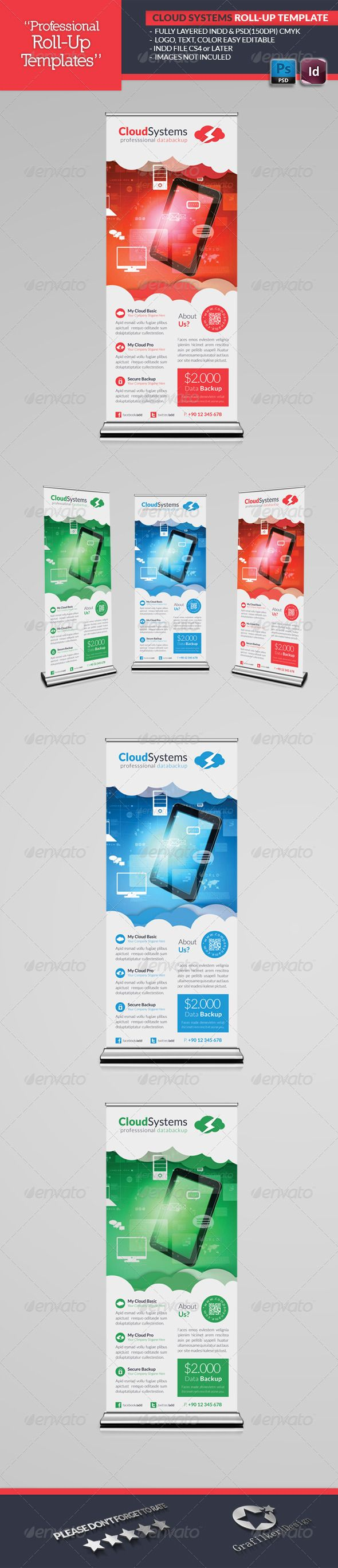 Cloud Systems RollUp Template — Photoshop PSD #monitoring #hosting • Availab...