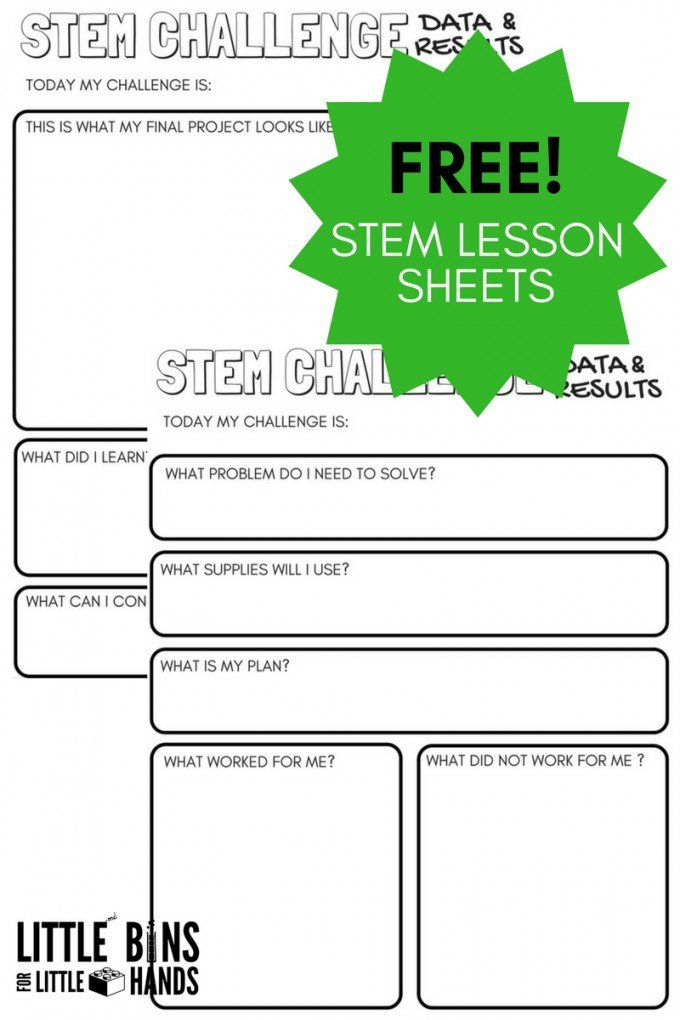 Free STEM Challenge Worksheets for Kids STEM Activities