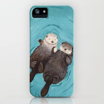 Otterly Romantic - Otters Holding Hands iPhone Case and Cover