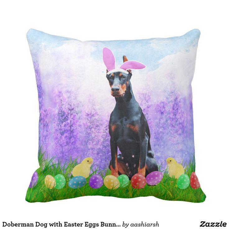 #Doberman #Dog with Easter Eggs Bunny Chicks Throw #Pillow