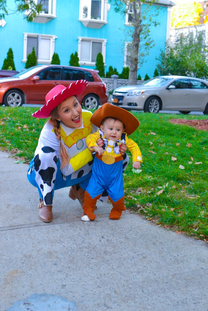 Mother and son matching costumes from Toy Story