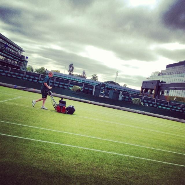 Morning maintenance on Day 3 of Wimbledon 2012.  Photo: Tennis by Lisa