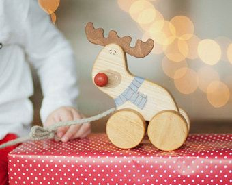 Wooden Toy Deer, Christmas Toys, Christmas Reindeer Toy, Scandinavian Toys, Old Fashioned Toys, Wooden Deer Toy, Wood Toys