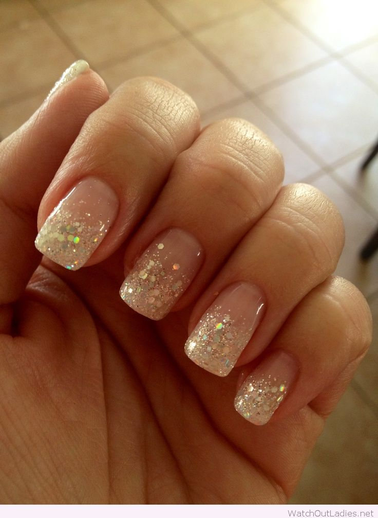 Glitter french manicure for Christmas | Summer nails in ...