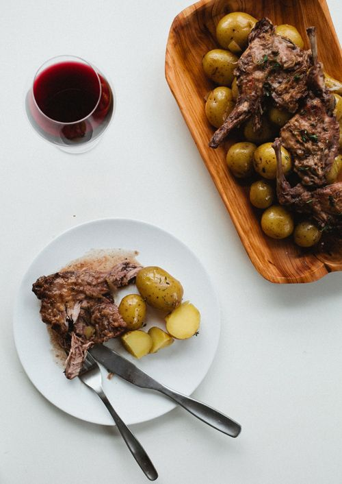 Hasenpfeffer ~  Marinating the rabbit in vinegar and wine for a couple of days yields meltingly tender meat.