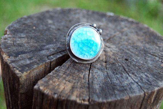 Autour de crackle druzy céramique verre turquoise bague, bague de déclaration, bague de fiançailles, coctail anneau, anneau réglable
