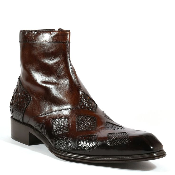Jo Ghost Italian Mens Shoes Inglese Pitone Crust Tejus Brown Python / Lizard Boots (JG2002)