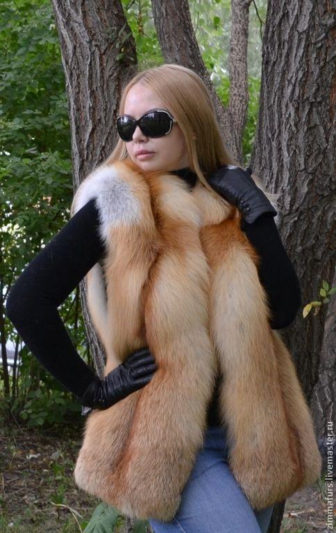 Купить Жилет из меха рыжей сибирской лисы. Цельный. - жилет из меха лисы, жилет из лисы