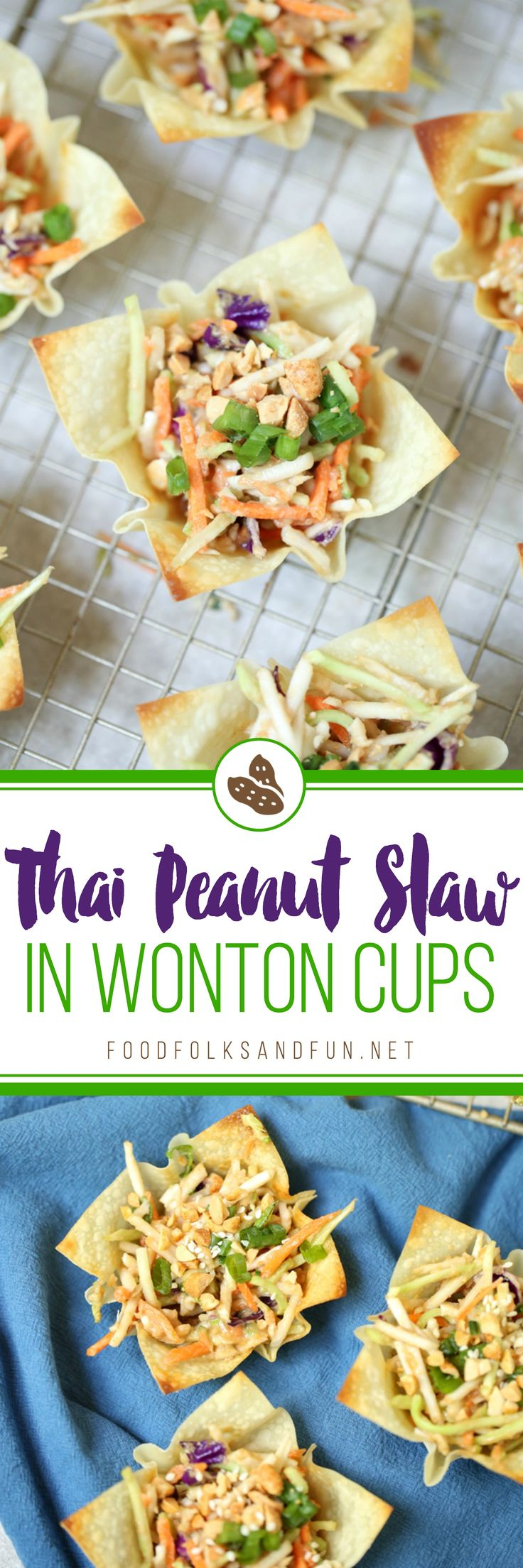 Asian Coleslaw with Thai Peanut Dressing in Wonton Cups is an easy side dish or appetizer for summer cookouts.