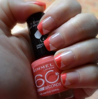 Two color colour nail art: coral (Rimmel London 415 Instyle Coral) and white diagonal French manicure design. #spring #summer