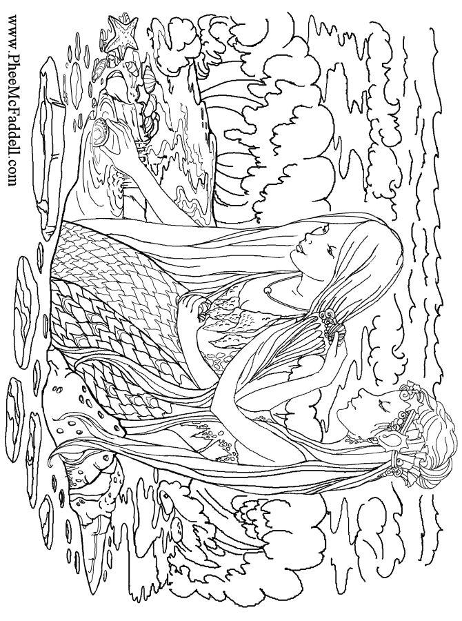 mermaids combing hair coloring page