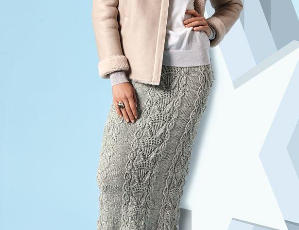 Схема и описание вязания на спицах прямой юбки с рельефным узором из журнала «Verena» №6/2016