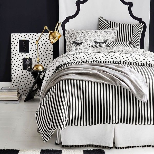 PB Teen The Emily & Meritt Cabana Stripe Comforter, Twin, Black/Ivory ($129) ❤ liked on Polyvore featuring home, bed & bath, bedding, comforters, black twin xl comforter, stripe twin comforter, black comforter, twin xl bedding and beige comforter