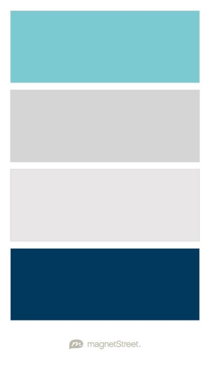 Turquoise, Silver, Winter White, and Navy Baby Boy Nursery Color Palette - custom color palette created at MagnetStreet.com