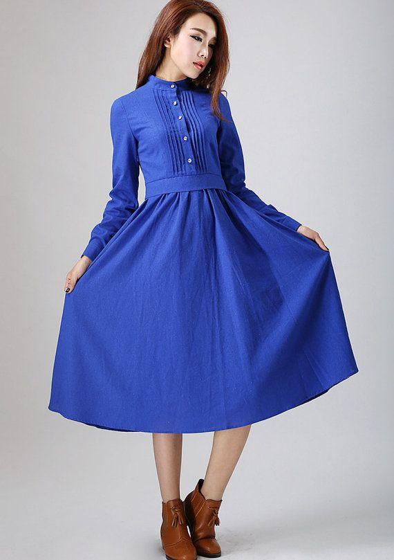 Blue dress woman Linen dress custom made long dress with