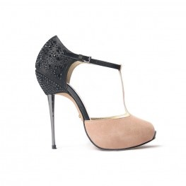 T shape on front sandal made of satin and suede, rhinestones and bosses on heels and galvanizedbarrel shotgunheel. http://shop.mangano.com/en #shoes #elegant #fashion #apparel #clothing #woman #black #mangano