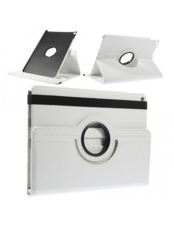 Περιστρεφόμενη Δερμάτινη Θήκη Βιβλίο με Βάση Στήριξης για iPad Air 2 - Λευκό