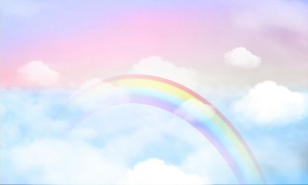 Rainbow On Sky Background And Pastel Color Goruntuler Ile