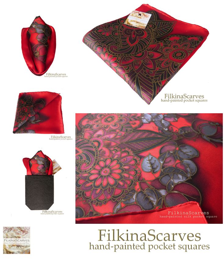 @FilkinaScarves on Etsy #FilkinaScarves @NevenaFilkina #MensHanky #PocketSquare #redhanky #roseshanky #silkhanky #mensgift #fathersgift weddinghanky #silkhandkerchief Mens Silk Pocket Square RED Bordeaux Roses silk hanky Hand Painted Batik This elegant hand-painted silk handkerchief is inspired by Bulgarian rose - a symbol of our country for centuries.The Hanky is uniquely designed with many elements and floral ornaments
