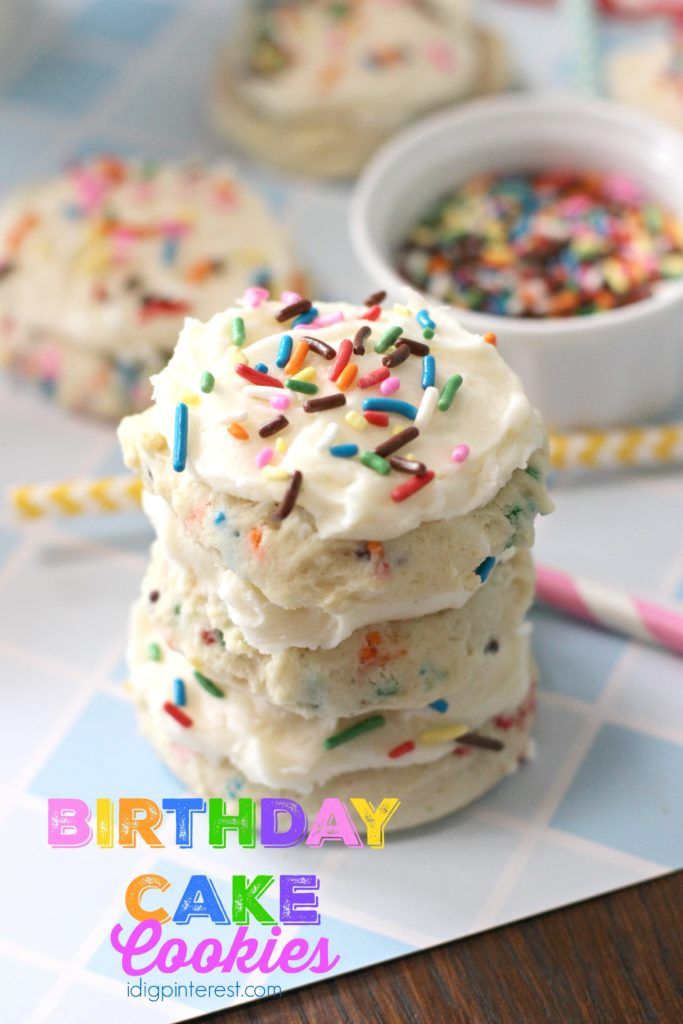 Birthday Cake Cookies. Who needs cake when you can have delicious, soft sprinkle cookies at your birthday party? No one will miss the cake when this happy-looking, colorful treat is served instead!