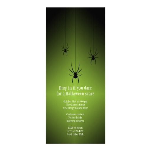 116 best exceptional halloween invites images on pinterest green glow black spider halloween invitation card stopboris Choice Image