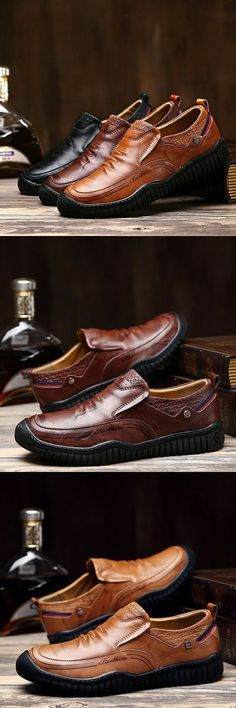 Click to Buy << Prelesty <b>Luxury Brand</b> Genuine <b>Leather Men</b> Shoes ...