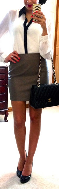 white blouse, grey pencil skirt, black pumps