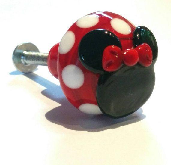 Minnie Mouse, Fairy Toadstool Door/Draw Knob - Handmade lampwork - UK - SRA