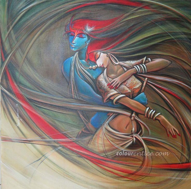 Buy Paintings Online by Artist Manoj Das - Radha Krishna - CE102463