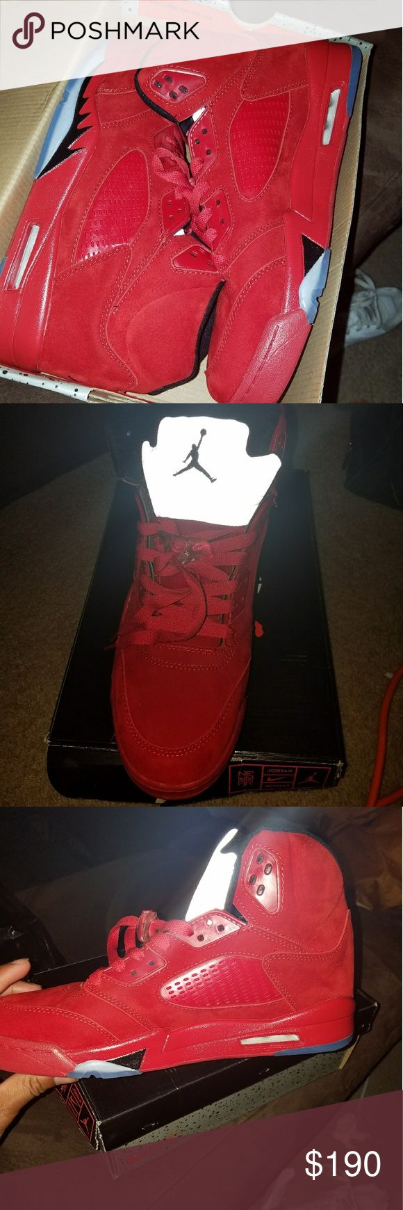 Custom Red Suede Jordan 5s Brand new, never been worn. Can post box tag to show they're custom. Jordan Shoes Sneakers