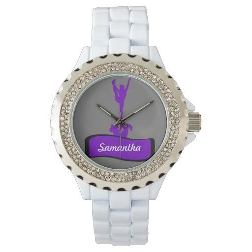 Cheerleader Rhinestone White Enamel watch Make it shine and sparkle with the Women's Rhinestone Watch! Made with a Rhinestone accented face   #watch #wristwatch #giftsforgirls #giftsforteens #cheer #cheerleader #cheerleading #allstars #gifts