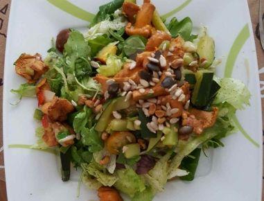 Für den Sommersalat mit Eierschwammerl zunächst die Eierschwammerl putzen, kurz waschen und in einem Sieb gut abtropfen lassen. Den Salat waschen
