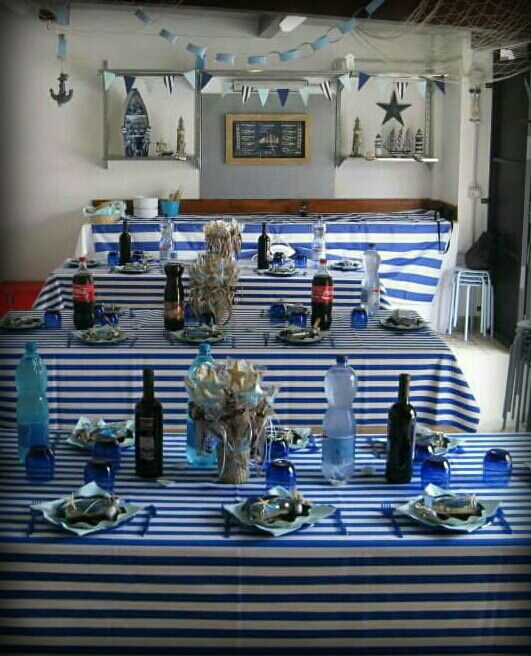 Navy party table