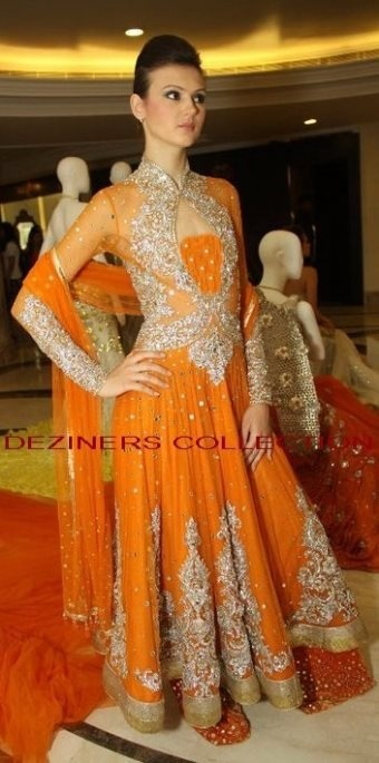 orange anarkali great for wedding reception or sangeet