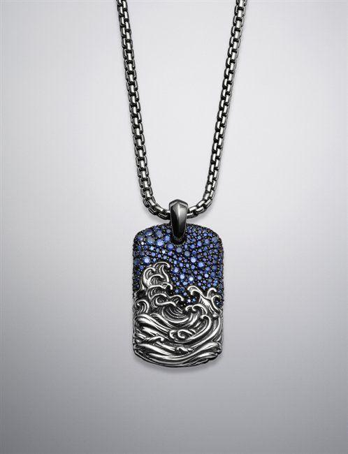 David Yurman | Men | Tag Necklaces: Waves Tag Necklace, Pave Sapphires