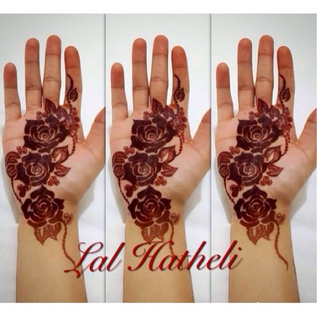 Henna stain of gulf roses design by Lal Hatheli