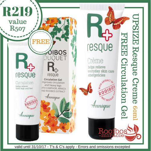 UPSIZE Resque Creme & Circulation Gel | Annique Instantly relaxes, refreshes and soothes tired legs and feet. Effective herbal ingredients restore blood circulation to help solve problems like swelling and stiffness.  #Annique #Rooibosmiracle #October #Specials
