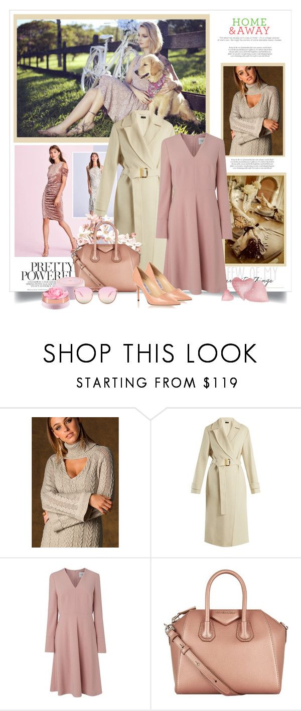 """""""Pastel Pink Dress White Overcoat"""" by danewhite ❤ liked on Polyvore featuring Joseph, L.K.Bennett, Givenchy, Jimmy Choo and Lancôme"""