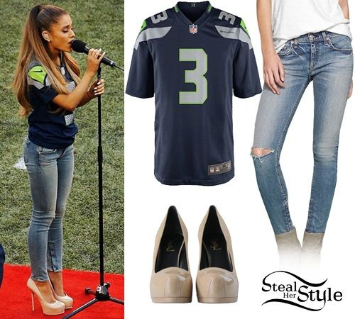 Ariana Grande performed the National Anthem at the Seattle Seahawks game wearing a customized Nike NFL Seattle Seahawks Limited Jersey ($150.00), the Rag & Bone Blue Zipper Capri (Sold Out) and a pair of Saint Laurent Classic Tribute Two 105 Pumps ($683.74). Get the look with ASOS Jeans ($36.18) and Chinese Laundry Pumps ($36.97).