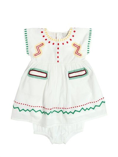 STELLA MCCARTNEY KIDS - EMBROIDERED MUSLIN DRESS & DIAPER COVER - LUISAVIAROMA - LUXURY SHOPPING WORLDWIDE SHIPPING - FLORENCE