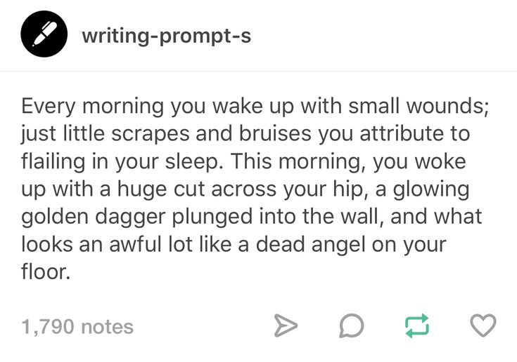 Okay this one is creepy because I do actually wake up with little scratches and bruises all of the time... I don't wanna wake up with a dead angel on my floor... The knife, I could deal with but not the DEAD ANGEL