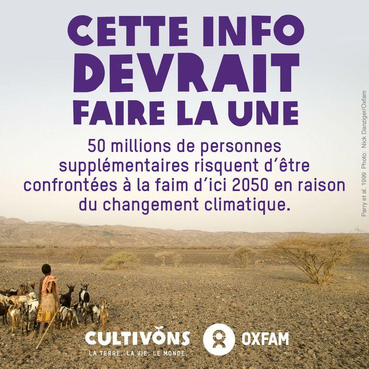 Le changement climatique menace la sécurité alimentaire mondiale. Et ne vous croyez pas à l'abri, c'est tout notre système alimentaire qui est défaillant. http://www.oxfamfrance.org/rapports/changement-climatique/faim-et-rechauffement-climatique-meme-combat