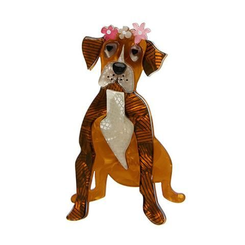 """Erstwilder Limited Edition Boxer Rebellion Brooch. """"Maybe it's not so cool or tough for a boxer to wear flowers in her hair. But our girl is both righteous and harmonious."""""""