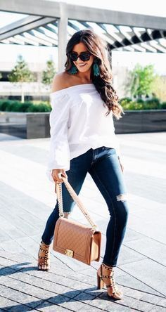 White off the shoulder + studded heels.