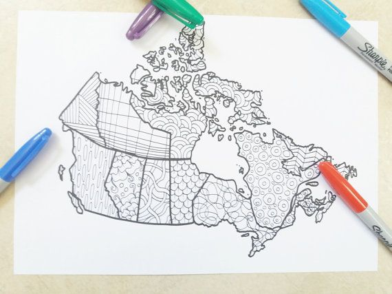 canada map kids adult coloring book page doodle doodling instant download travel map art home decor printable print digital…