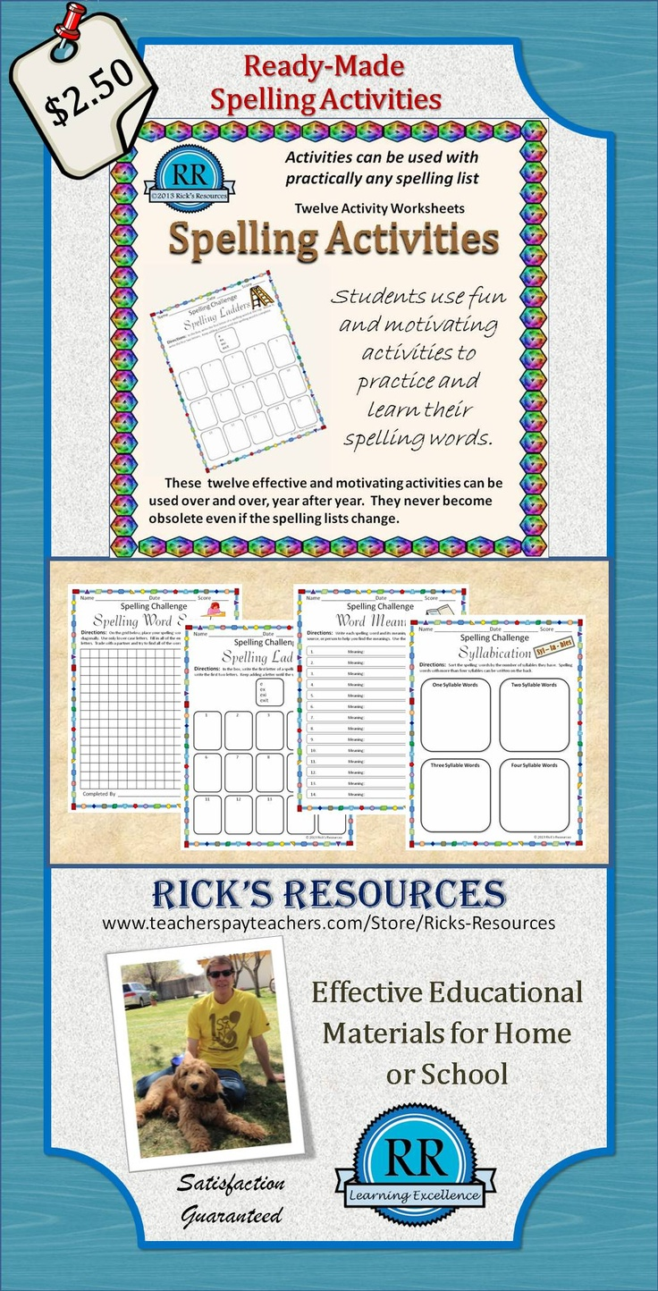 spelling activities for any spelling words list activities spelling and homework. Black Bedroom Furniture Sets. Home Design Ideas