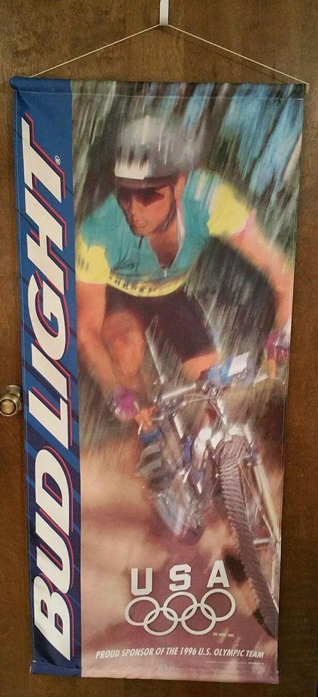 "Bud Light 1996 USA Olympic Cycling Banner Display   55"" long/Budweiser Beer/bike"