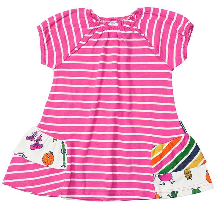 Pink striped ruffle dress for baby girl. From Polarn O Pyret USA