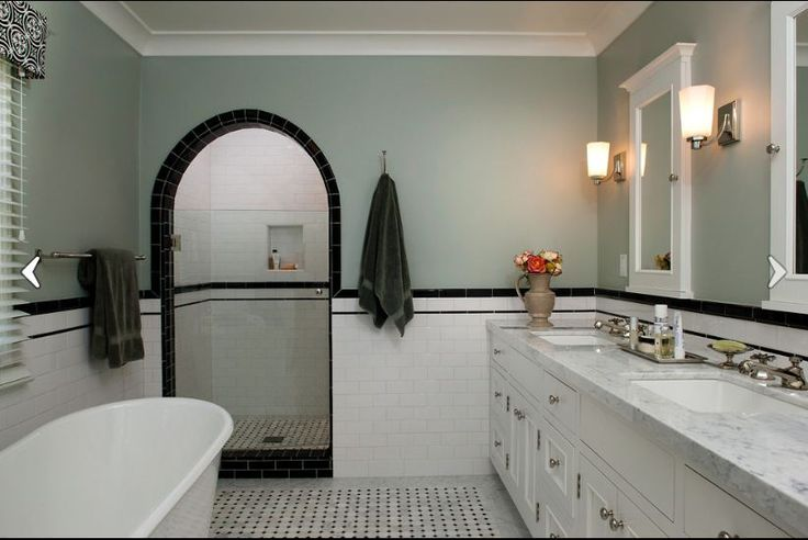 Subway Tile Double Black Trim Bathroom Remodel